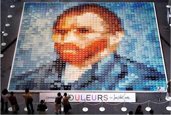 Van Gogh Mosaic Portrait Made With Polo Shirts