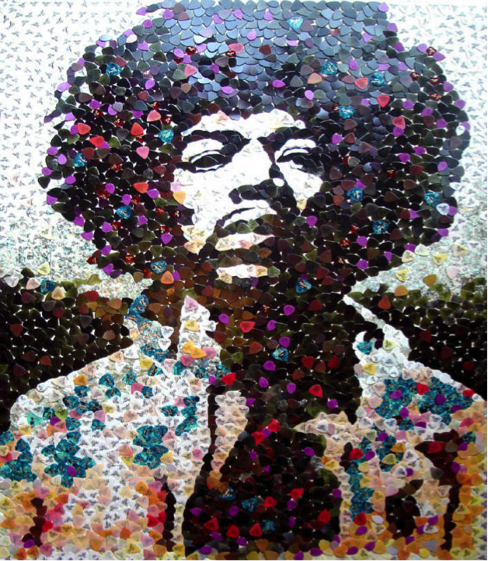 Jimi Hendrix Guitar Picks Mosaic