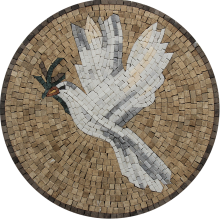 Whit Dove Round Marble Mosaic