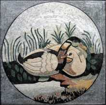 AN1 Ducks by the lake marble mosaic