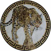 AN1043 Wild Leopard Animal Greek Frame  Mosaic