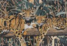 Two Leopards on a Tree Mosaic