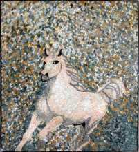 AN266 Beautiful white horse Mosaic