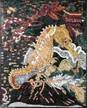 Golden Seahorse with Colorful bkgrd Wall Mosaic