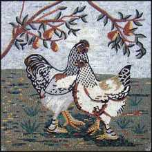 AN295 B&W roosters with fruit tree Mosaic