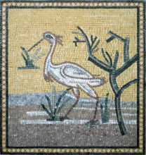 AN42 White stork on golden background Mosaic