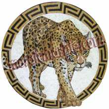 AN579 Circular Leopard With Greek Keys Border Mosaic