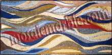 CR468 Rectangular multicolor waves mosaic carpet