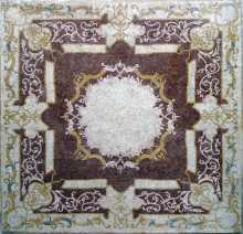CR79 Burgundy & gold floral square Mosaic