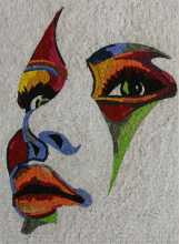 Modern Portrait to the Left in Vibrant Colors Mosaic
