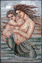 Mother and Child Mermaid in Sea Mosaic