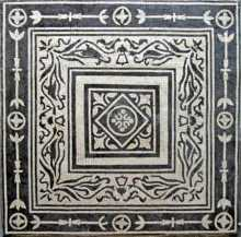 Black & White Squares with Leaf Pattern Mosaic
