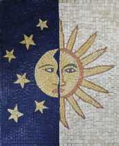 Sun and Moon Stones Faces Vertical Mosaic