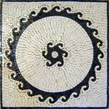 Black Round Waves on White Square Floor Mosaic