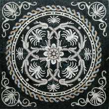Black & White Elegant Circle in Square Floor Mosaic