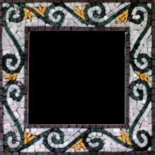 Black Spirals on White Mirror Border Mosaic