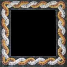 Orange & White Entangled Mirror Border Mosaic