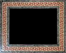 Red Spiral Squares Mirror Border Mosaic