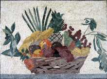 Fruit Basket & Leaves Kitchen Backsplash Mosaic