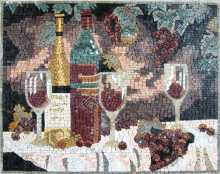GEO575 grapes and wine banquet marble mosaic