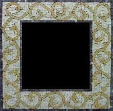 Yellow Spirals on Off-White Mirror Border Mosaic