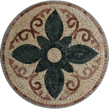Marble Medallion Green Lotus Flower Mosaic