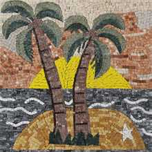 Palm Tree Tropical Square Mosaic Mural