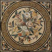Square Floor Tile Mosaic Bouquet