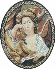 Oval Mosaic Lady with the Book