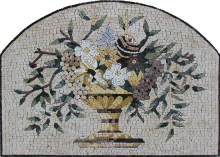 Flower Bouquet Vase Arched Mosaic Art