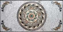 Marble Floor Medallion in Rectangle with Fish Mosaic