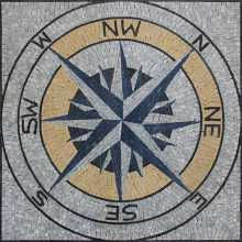 Tilted Compass Mosaic Polished Square Tile