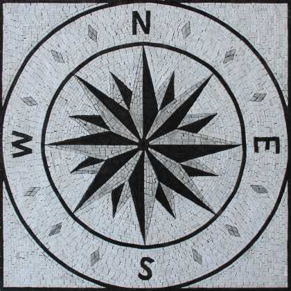 Greyscale Mosaic Compass Square Tile