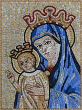 Mother Mary and Baby Jesus Mosaic Icon