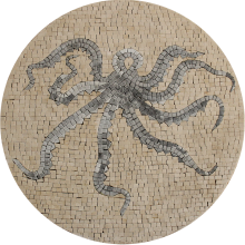 Abstract Octopus Round Bathroom Decor  Mosaic