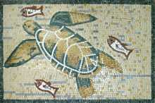 Sea Turtle and Fish Mosaic Mural