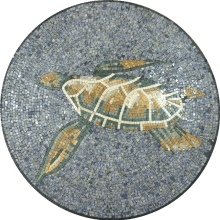Sea Turtle Round Mosaic for the Pool
