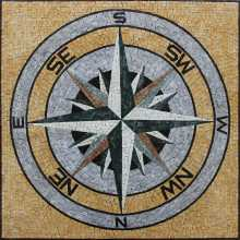 Square Floor Tile Mosaic Compass