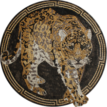 Wild Leopard Mosaic Medallion with Greek Keys